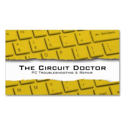 Computer Repair Business Card Keyboard Tearaway Computer Repair - Computer repair business card template