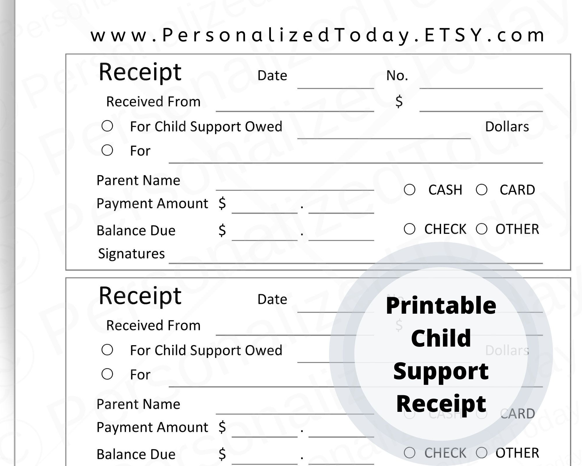 Printable Child Support Receipt For Diy Receipt Book Digital Etsy Child Support Supportive Child Support Payments