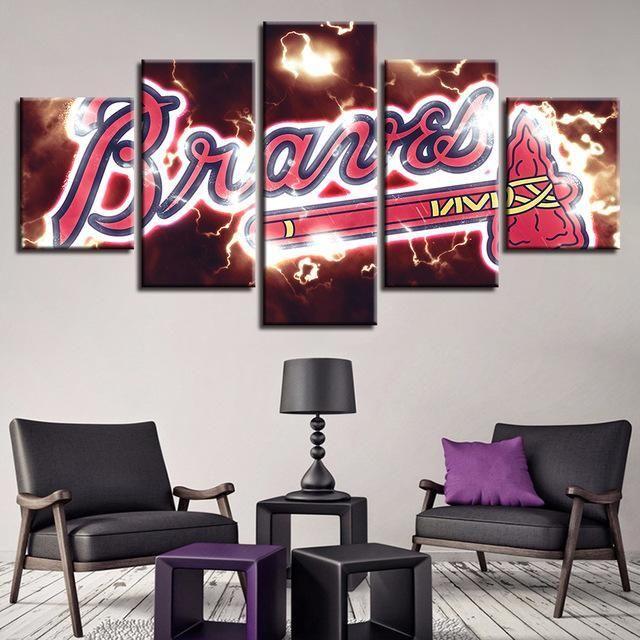 5 Panel Atlanta Braves Canvas Wall Art Cheap For Living Room Wall Decor   Cheap wall art, Living ...