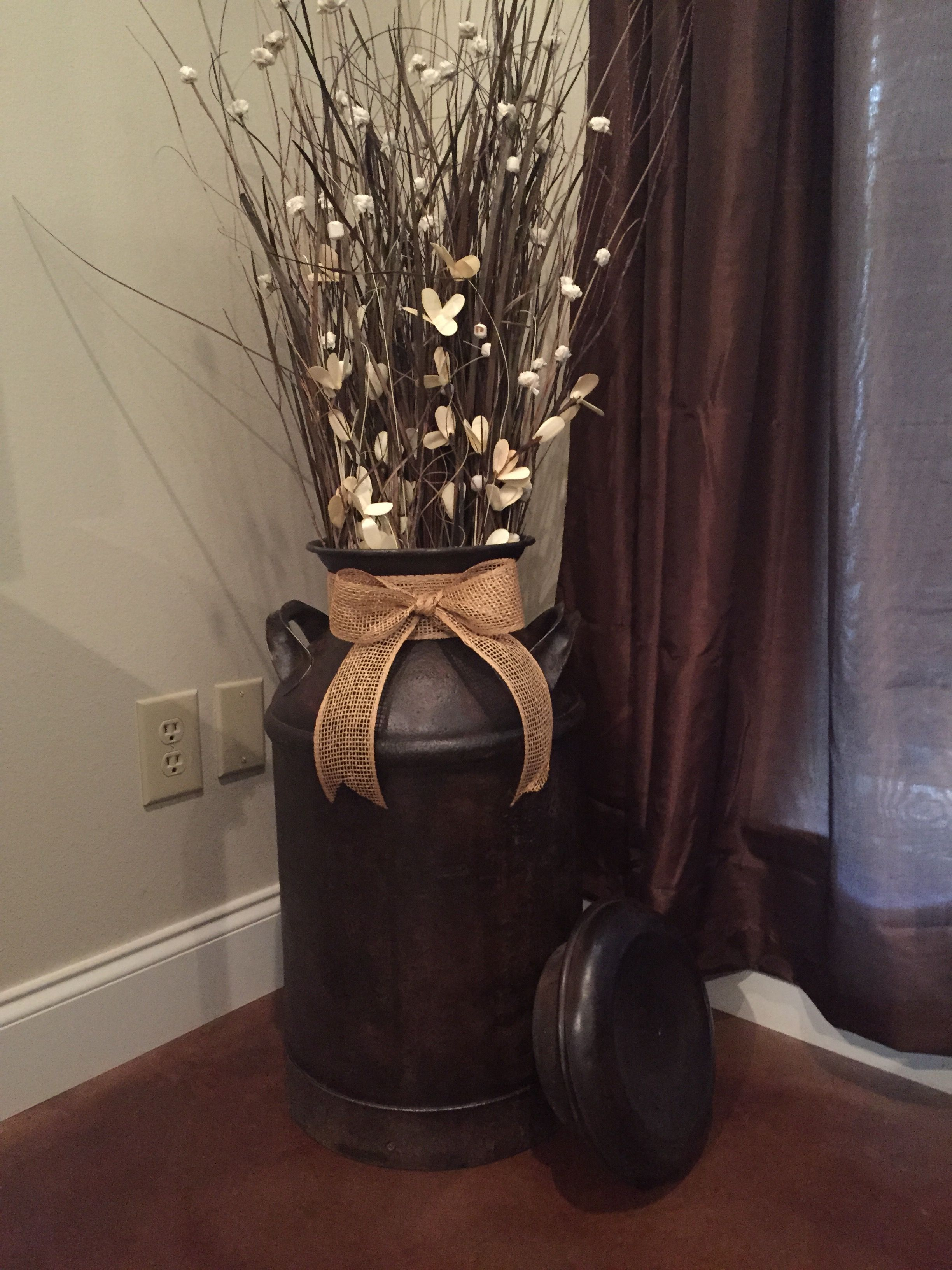 Antique milk can turned into home decor! Milk can decor