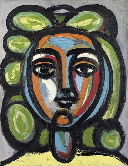 "Pablo Picasso - ""Head of a Woman with green earrings"". 1946"