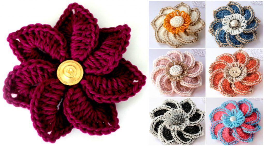 Crochet Crocodile Stitch Flowers | Horgolt rátétek, figurák ...