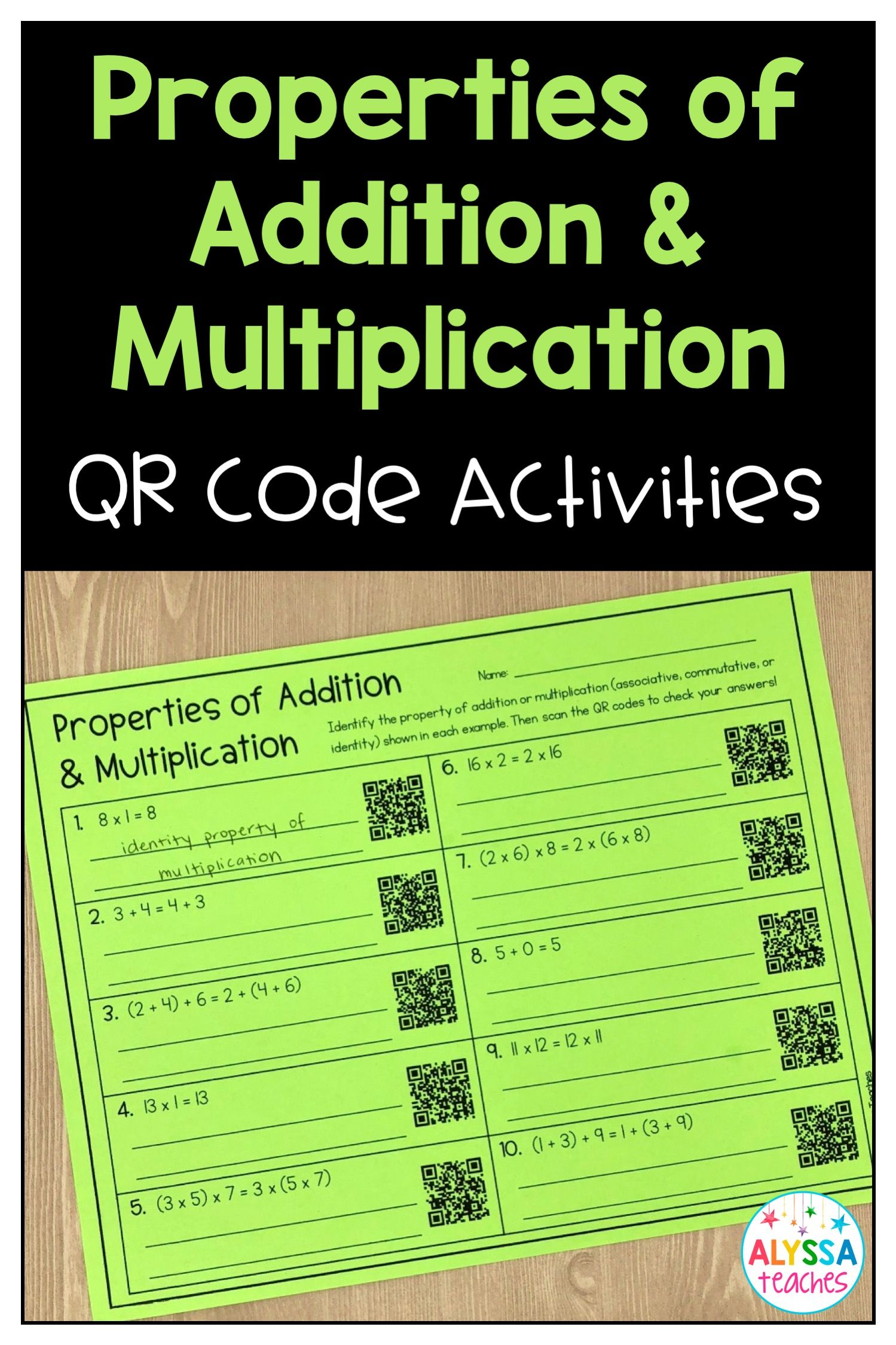 Properties Of Addition And Multiplication Qr Code