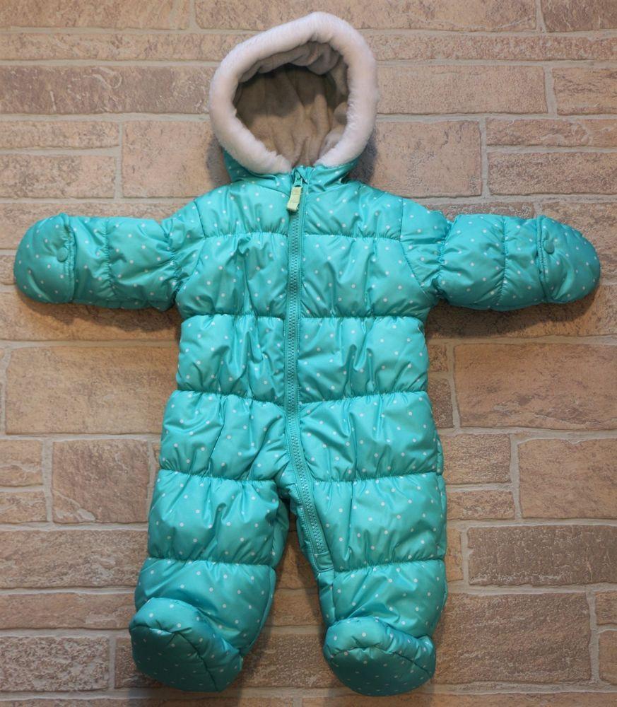 7b705631b4a3 Carters Infant Girls 3 6 M Aqua Blue White Polka Dot Snow Suit ...