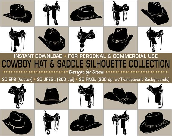 20 Cowboy Hat Saddle Silhouettes Clip Art Collection Each In 3 High Quality File Formats Eps Jpg Png Silhouette Clip Art Cowboy Hats Cowboy