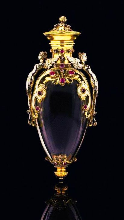 A two-colour gold and gem-set rock-crystal Perfume Bottle, France, ca. 1870.