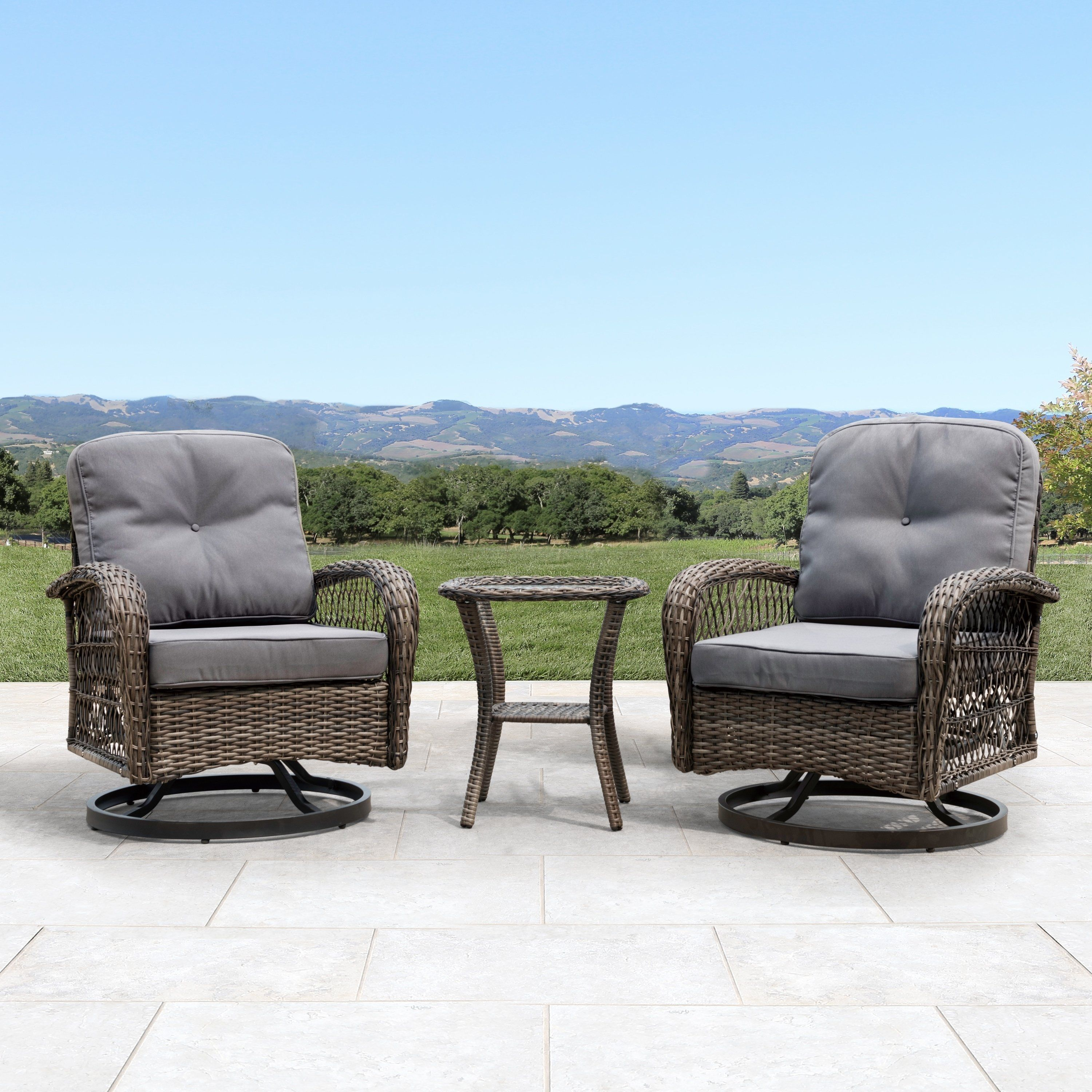 Wondrous Corvus Livorno Outdoor 3 Piece Wicker Chat Set With Swivel Caraccident5 Cool Chair Designs And Ideas Caraccident5Info