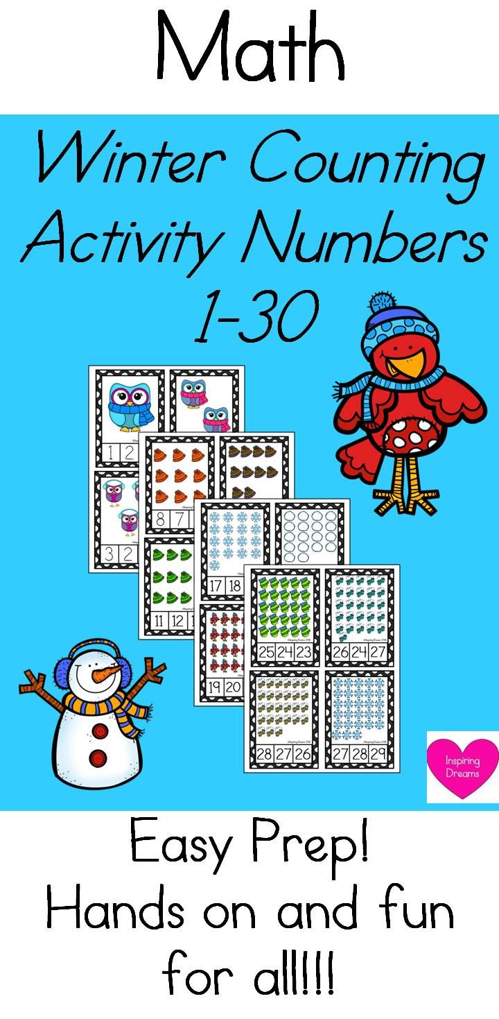 Winter Counting Activity Numbers 1-30 | Counting activities ...