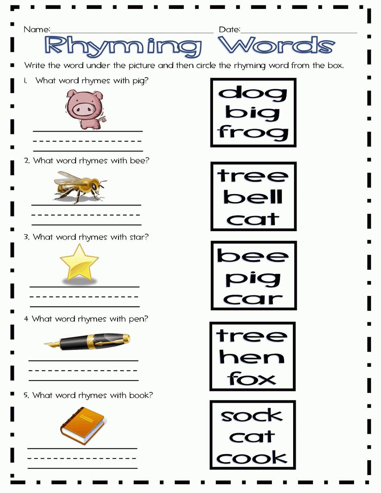 Rhyming Worksheets 1st Grade In 2020 Rhyming Worksheet Rhyming Words 1st Grade Worksheets