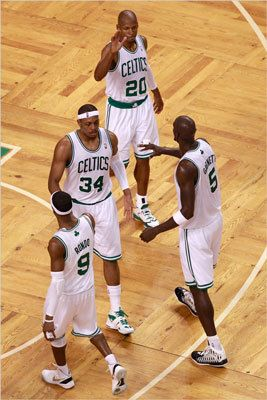 Ray Allen, Kevin Garnett, Rajon Rondo and Paul Pierce reacted in the first half.