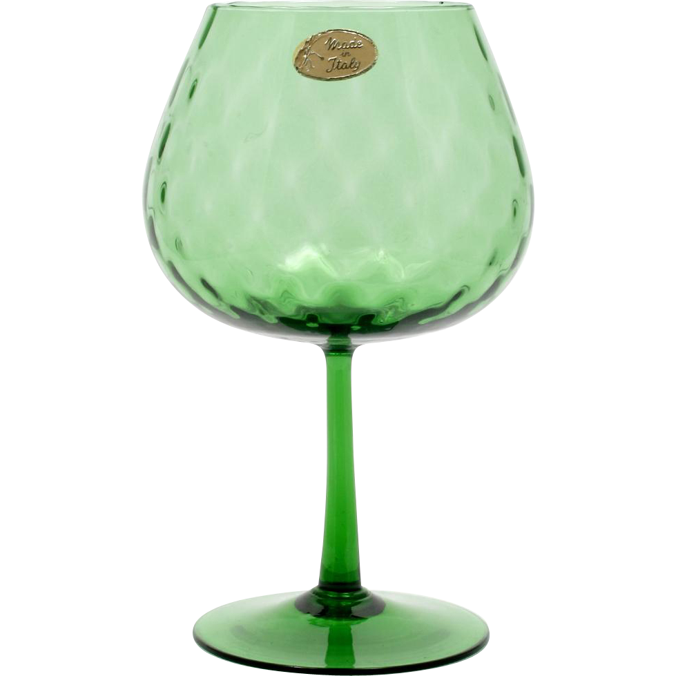 This beautiful brandy snifter shaped pedestal vase is a wonderful italian empoli emerald green glass vase diamond optic vintage with label reviewsmspy