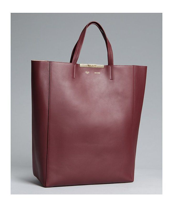 bbbfe6830b70 Celine burgundy leather Vertical Cabas  tote