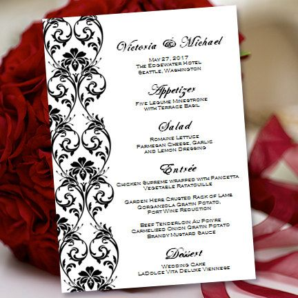 printable wedding menu template tropical by weddingtemplates