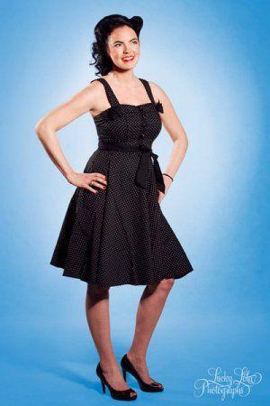 Hellbunny Gery Dots Dress, Rockabilly Dress / Rockabilly Kleid