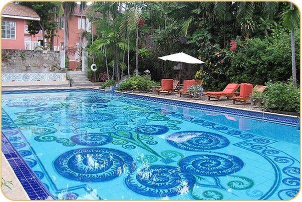 Pool tile oc lido island ornate pool tile design pinned for Pool design tiles
