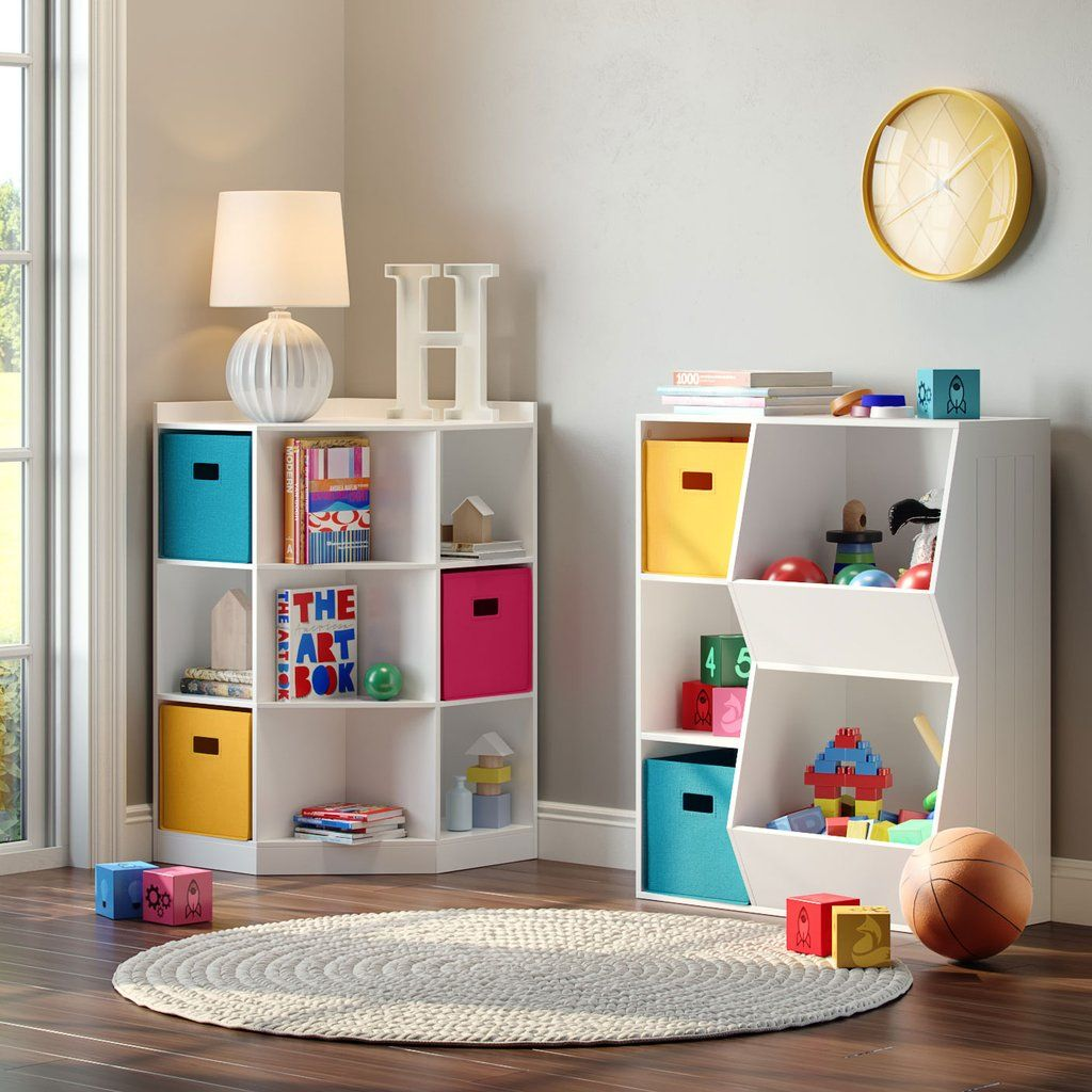 Kids Corner Storage Cabinet With Cubbies Shelves Storage Kids