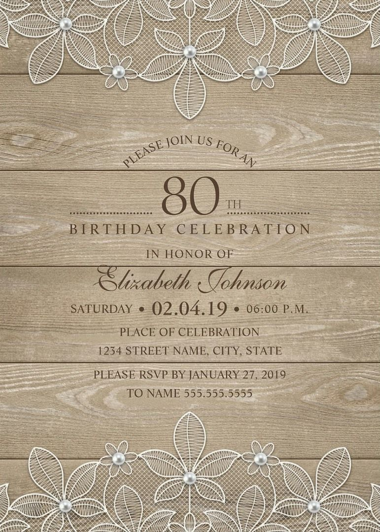 Rustic Wood 80th Birthday Invitations - Lace and Pearls Party ...
