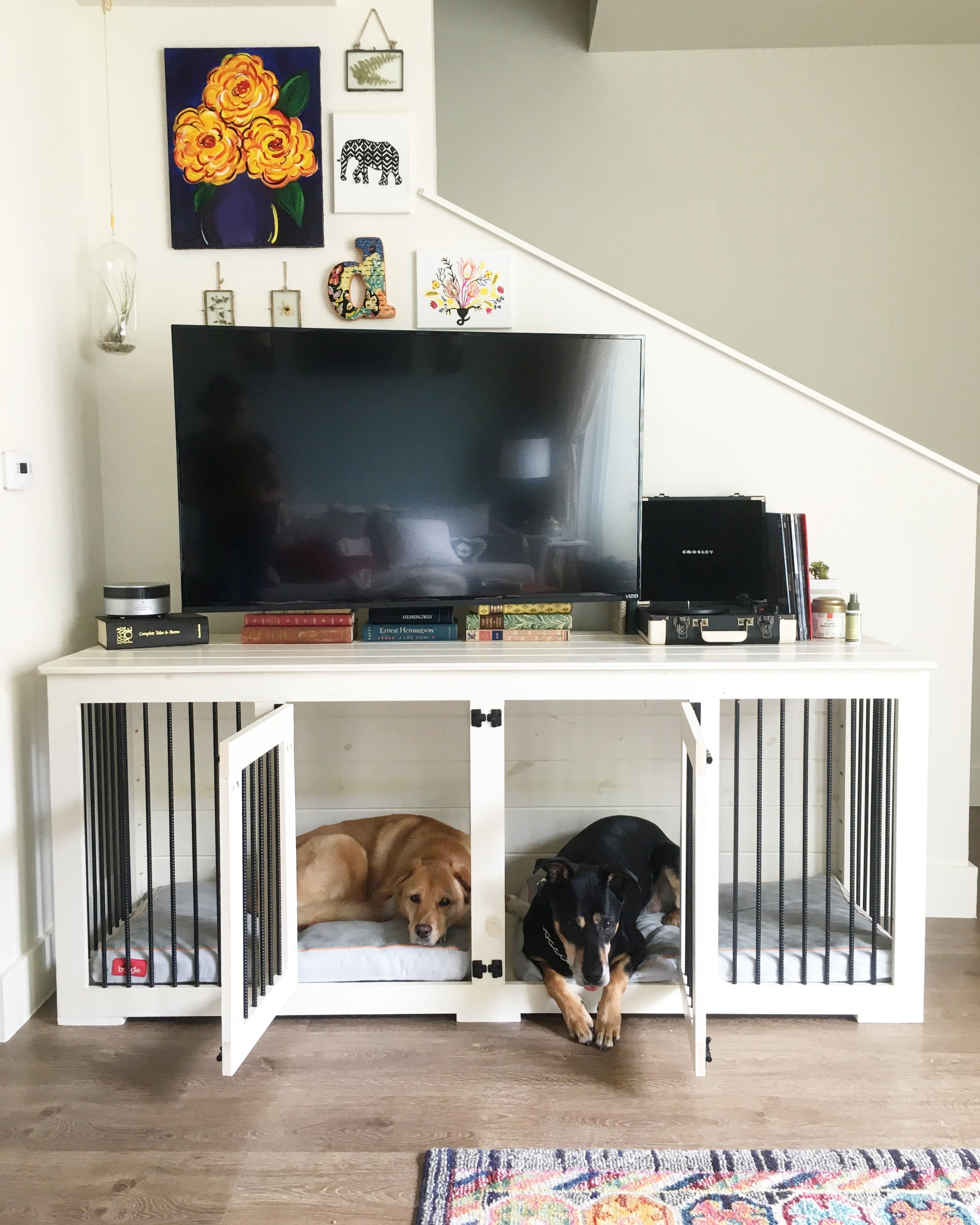 The Double Doggie Den Indoor Rustic Dog Kennel For Two