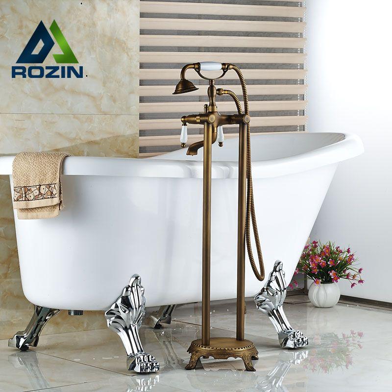 Photo of Floor Mounted Dual Handles Bath Mixer Faucet Antique Brass Bathroom Free Standi …