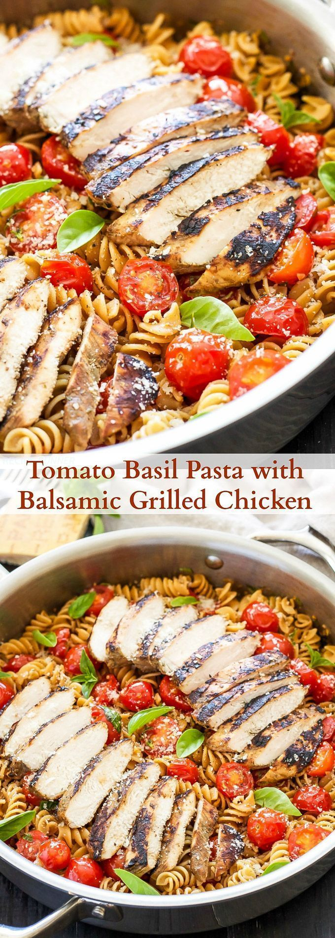 Tomato Basil Pasta with Balsamic Grilled Chicken | A lighter pasta dish full of…