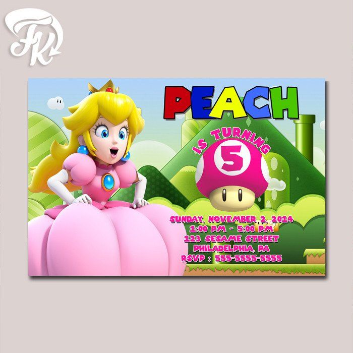 Princess Peach Super Mario Game Birthday Party Card Digital Invitation Kid