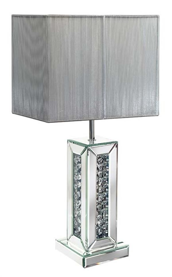 Mirror Floating Crystal Square Table Lamp With String Shade (available In  White And Silver)