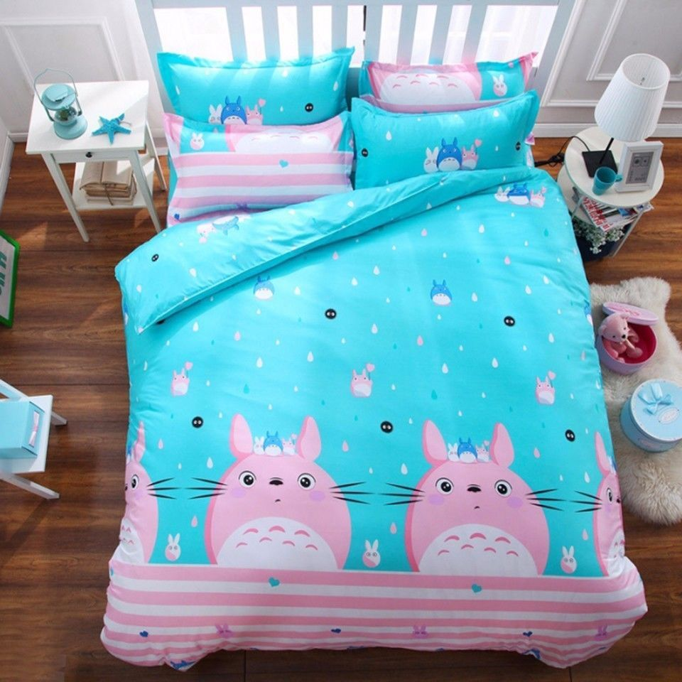 Totoro Bettwäsche My Neighbor Totoro Bedding Set Pink And Sky Blue Bed Polyester