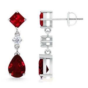 Pear, Square Ruby and Diamond Dangle Earrings