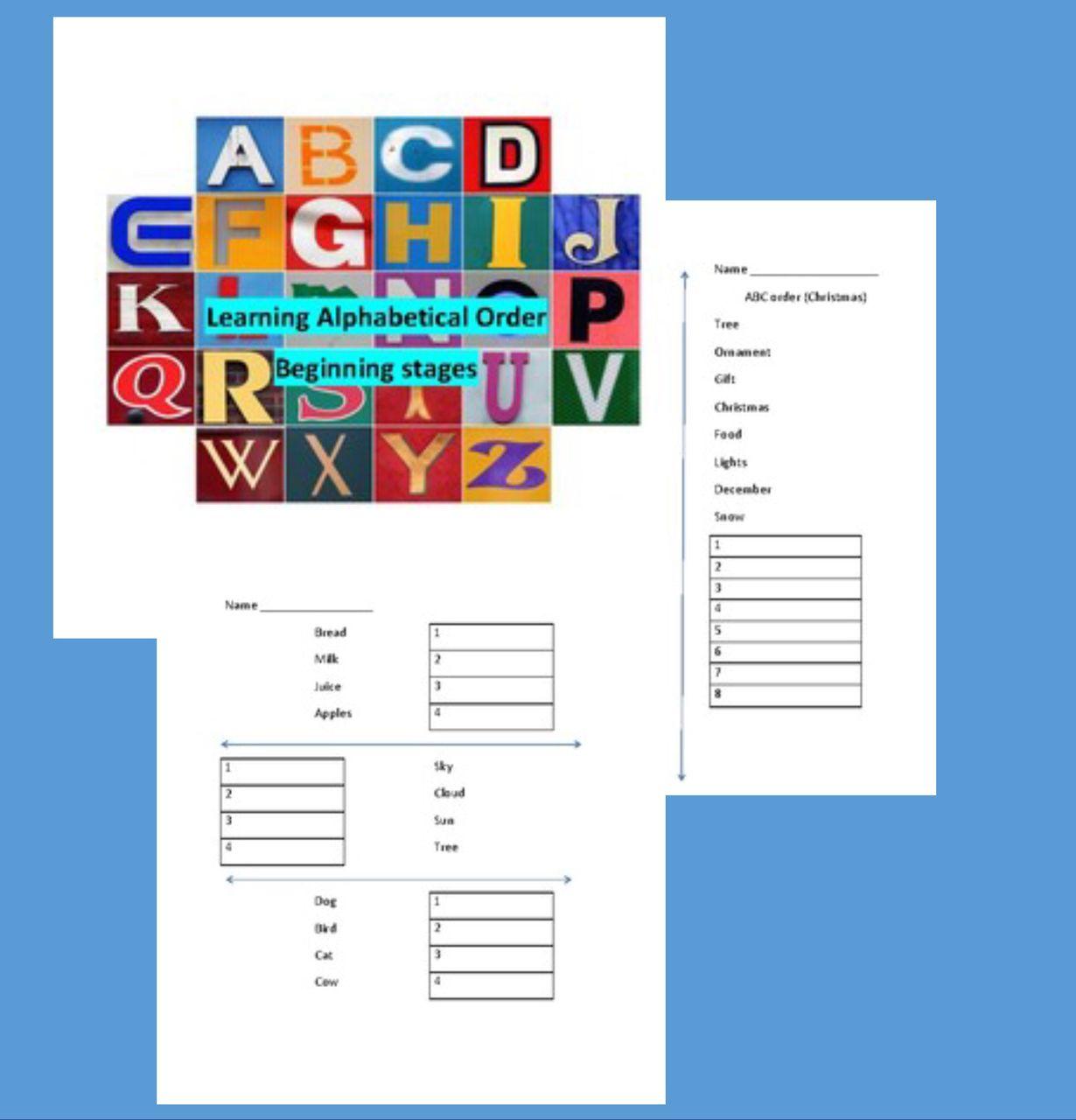 Alphabetical Order Worksheet