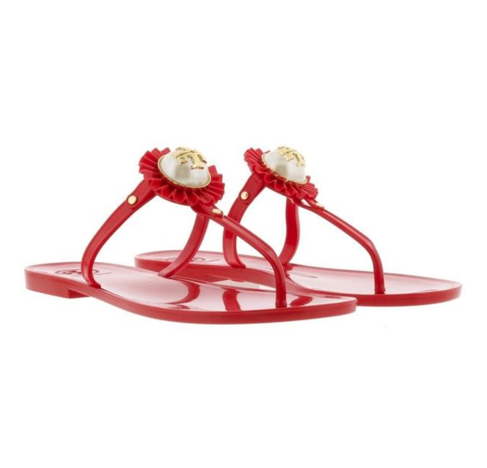 ff189c8f506a33 NIB Tory Burch Melody Pearl Jelly Sandal Nantucket Red Size 8 ...