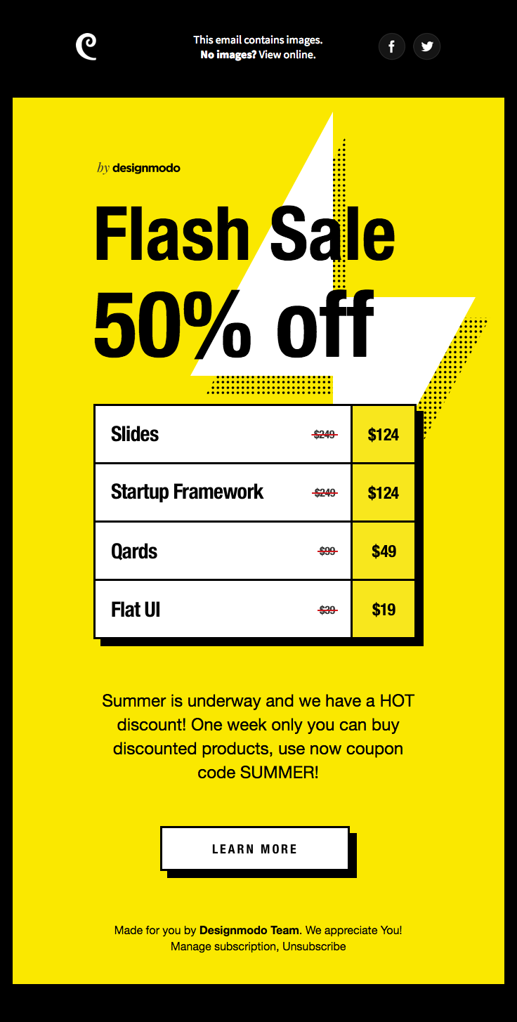 Designmodo Sent This Email With The Subject Line Summer Flash Sale