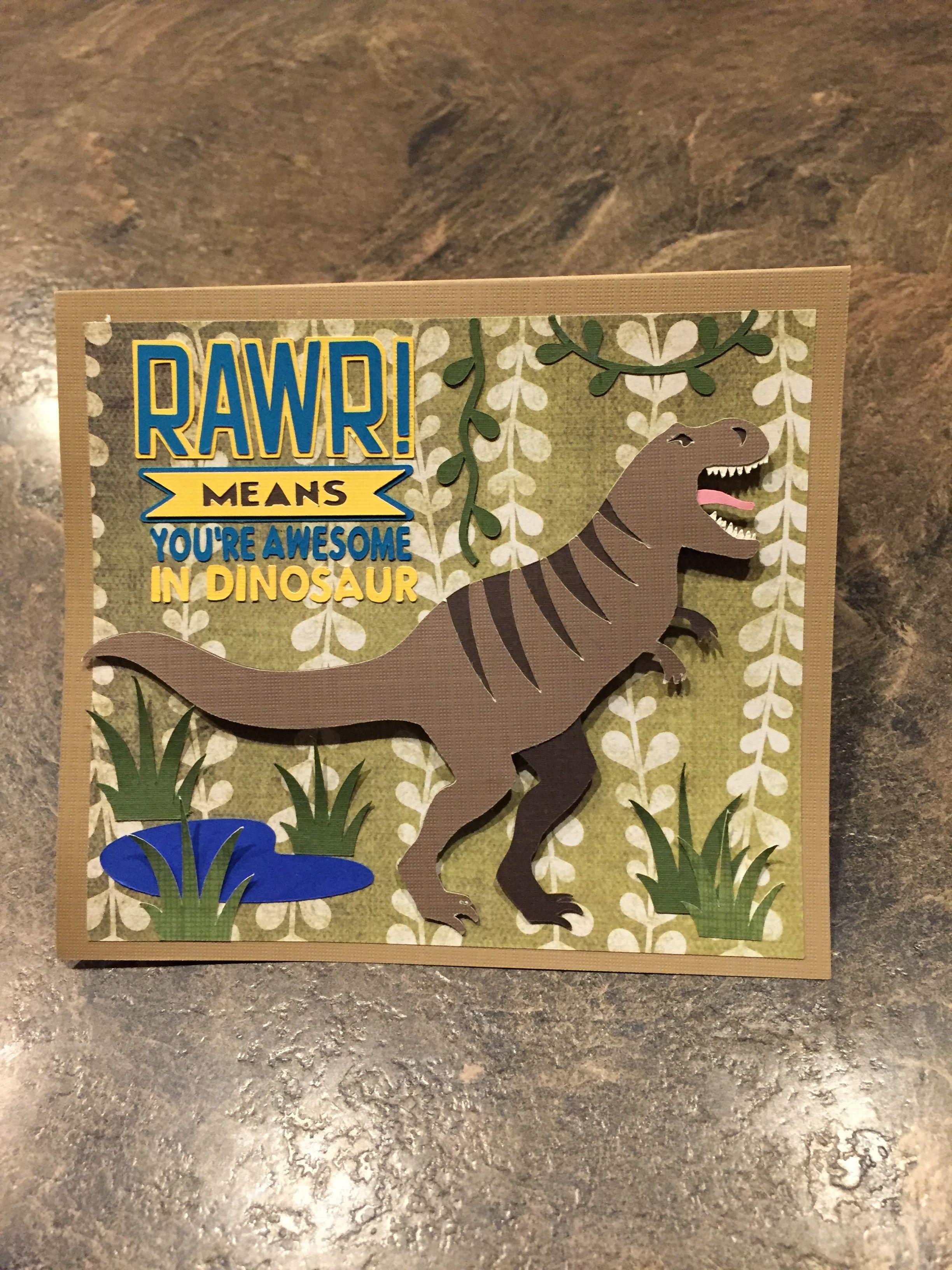 Dinosaur Birthday Card Made Using The Cricut Design Space Dinosaur Cards Card Making Birthday Birthday Cards