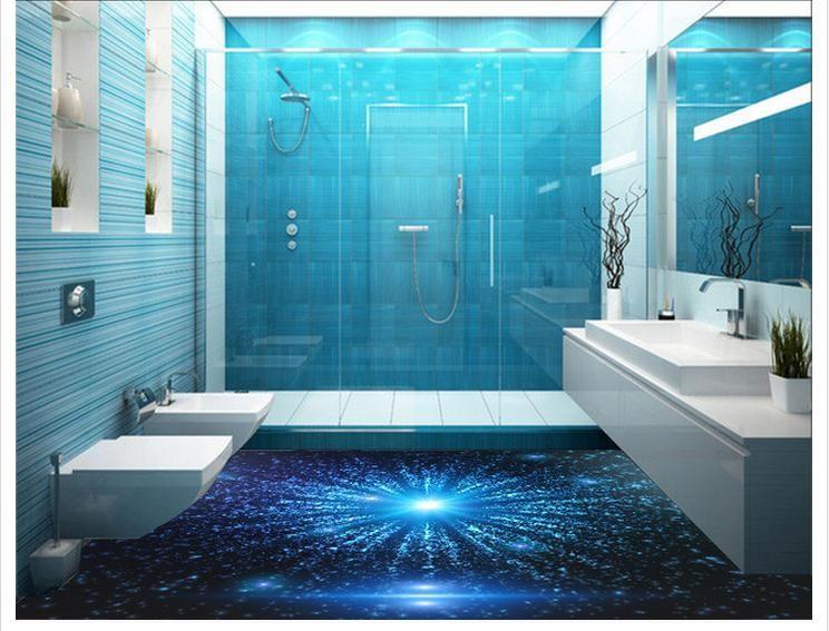 Wallpaper Custom Floor Painting Wallpaper 3 D Blu Ray Technology Floor Sky  Pvc Wallpaper Room Decoration