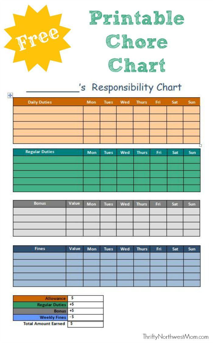 Free Printable Chore Chart For Kids Printable Chore Chart Free Printable Chore Charts Chore Chart Kids