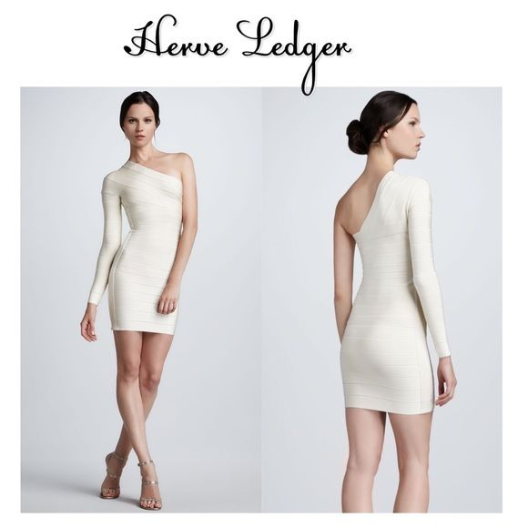 "Herve Leger Cream Bandage One Shoulder Dress S New with tags Gorgeous Herve Leger one shoulder bandage dress. Purchased at bergforf for $1350 + tax! 32"" long. Hidden size zip closure. Herve Leger Dresses One Shoulder"