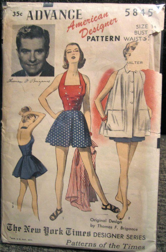 Vintage Advance Designer Thomas Brigance Halter Playsuit & Beach ...