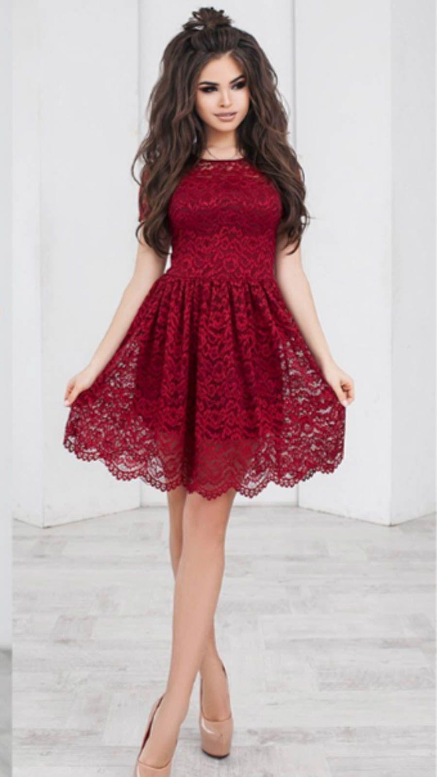 cb5a4c6cf9b96cb Красное гипюровое платье-колокольчик | Платья | Платья, Колокольчик ...