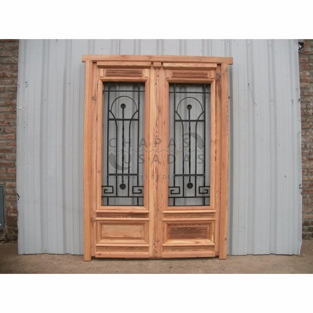 Puerta madera pinotea c reja hierro f 150x213cm for Ventanas de madera mercadolibre argentina