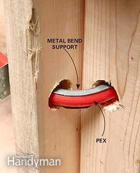 Installing a bend support will prevent kinks and it will also protect the pipe from abrasion. & Plumbing With PEX Tubing | plumbing | Pinterest | Pipes Pex tubing ...