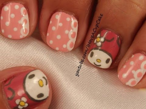 My Melody Nail Art Youtube Nail Art Hello Kitty Nails Nails