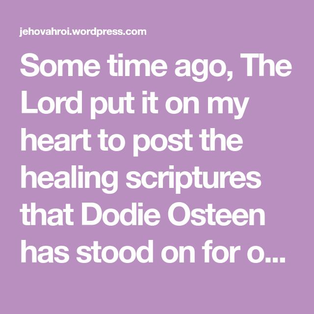 Dodie Osteen Healing Scriptures Pdf