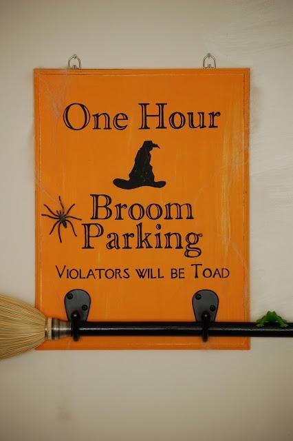 DIY Halloween Crafts  DIY Broom Parking Halloween Sign DIY