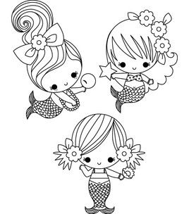 Stamping Bella Unmounted Rubber Stamp 3 Little Mermaids Under The Sea Stamps Stamping Scrapbo Mermaid Coloring Pages Cute Coloring Pages Mermaid Coloring