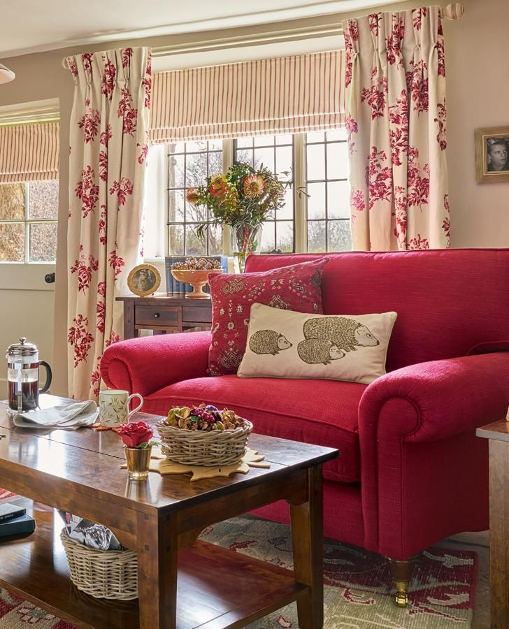 Cottage Living Room Designs Beauteous Bramble Cranberry Curtain Fabric  Curtain Fabric Living Rooms Decorating Inspiration