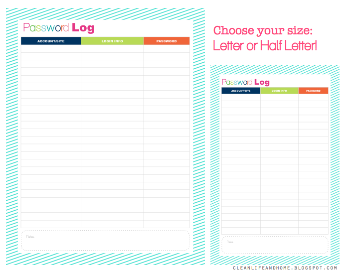 Clean Life And Home Freebie Friday Password Log Letter  Half