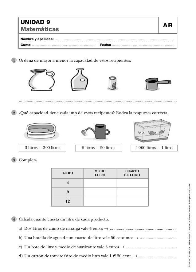 Ficha masa-y-capacidad | Educación | Pinterest | Apellidos, Nombres ...