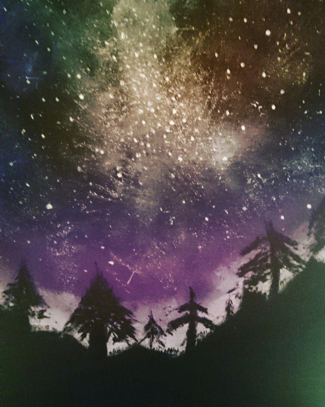 Acryl Acrylfarbe Himmel Sternenhimmel Marchenwald Sterne