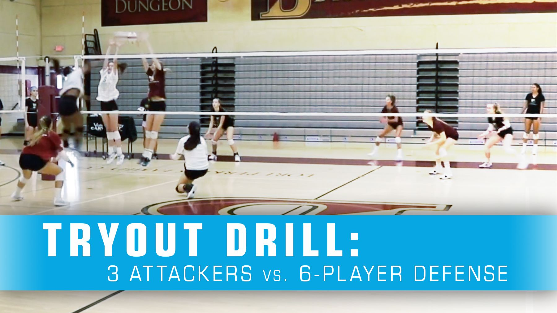Tryout Drill 3 Attackers Vs 6 Player Defense Coaching Volleyball Volleyball Tryouts Volleyball Skills