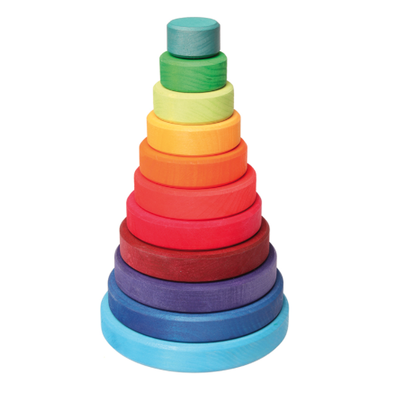 Houten toren met gekleurde schijven van Grimm's.Hoogte = 25 cm.Het ...