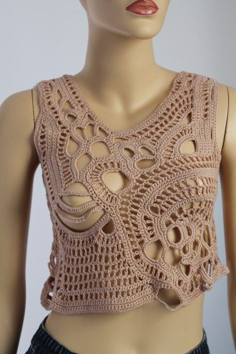 10% OFF with coupon code Cotton Beige Freeform Crochet Tank Top ...